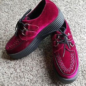 T.U.K. Anarchic Creeper Shoes Burgundy Velvet